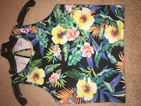 Women's blue, yellow and orange floral crop top
