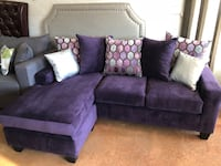 Smaller purple velvet sectional L shape sofa couch  Charlotte, 28205