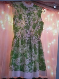 women's white and green floral sleeveless dress Abbeville, 70510