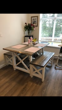 Rustic dining table with benches Surrey, V4P 1E8