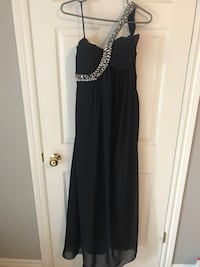 One strap navy gown