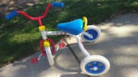 toddler's white and blue pedal trike