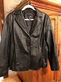 Black leather button jacket ladies size large Moore, 73160