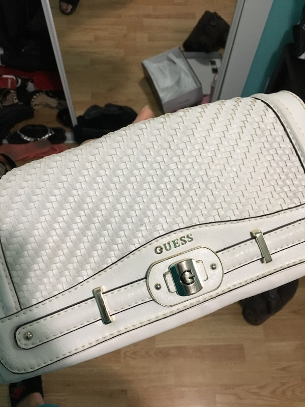 White Guess leather clutch