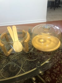 Wood Flat Round Server Cake Stand with Glass and Salad Bowl!