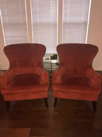 Two burnt orange suede sofa chairs Alexandria, 22312