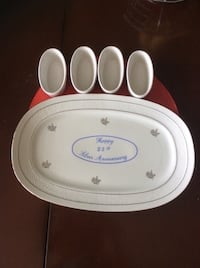 Happy 25th Anniversary Platter. Also 4 oval small dishes. MADE IN ITALY. Toronto, M1P 4S5