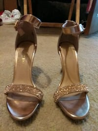 rose gold leather open toe ankle strap heels