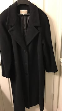 Ladies black long wool coat size 16
