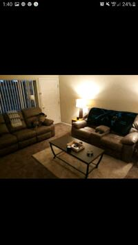 7 piece living room set.Tan leather  w four recliners 6mnts use only