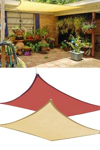 New $32 each 12' x12' Square Sun Shade Sail UV Top Cover Outdoor Patio Canopy (Tan or Red) South El Monte
