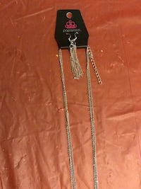 Paparazzi silver necklace/chain w/ earrings and blue sapphire stones