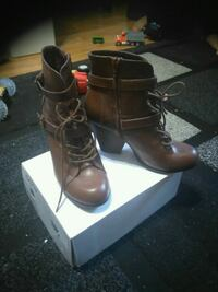 pair of brown leather round-toe chunky heel booties with box Edmonton, T6A 1H5