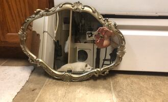 Antique Mirror with Pewter frame