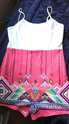 women's white and pink spaghetti strap top