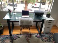 Tempered Glass / Wood / Steel Office Desk with Keyboard Shelf Santa Monica, 90403