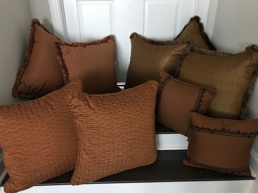 two brown fabric throw pillows for sale  Charlotte