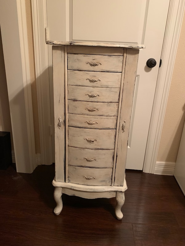 Used Powell Furniture Jewelry Armoire Painted In Cream For Sale In