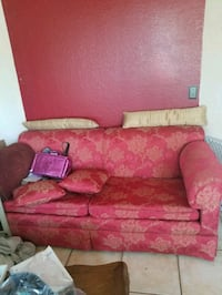 pink and beige floral 2-seat sofa