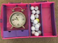 Random lot for the whole family vintage Barbie case 1991 in great condion w/ new working alarm clock  $ quality golf balls!