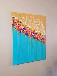 Abstract colorful acrylic art on canvas