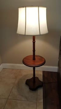 Wood Floor Lamp with Small Table