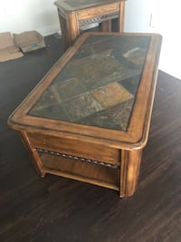 Wood and stone coffee table + end tables (2)
