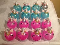 silver,teal and pink baubles