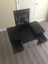 black wooden vanity table