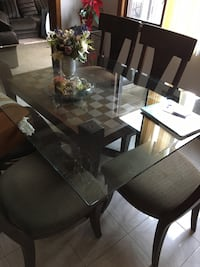 rectangular glass top table with four chairs dining set Leonia, 07605