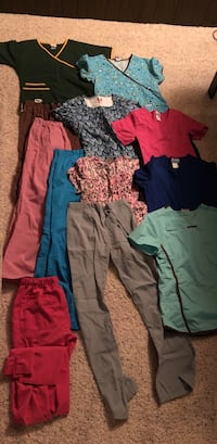 Womens small scrub tops and pants