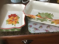 two white-and-red floral ceramic bowls Central Okanagan, V4T 2Y5