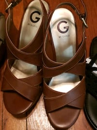 pair of brown leather open toe ankle strap wedges Raeford, 28376