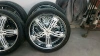 chrome 5-spoke vehicle wheel and tire set Riverview, 33579