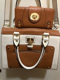 Brown and white tote bag with wallet East Lake, 33619