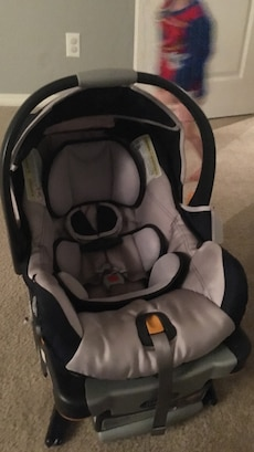 baby's grey and black car seat