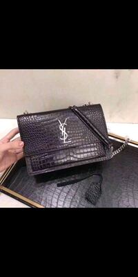 black crocodile skin leather crossbody bag