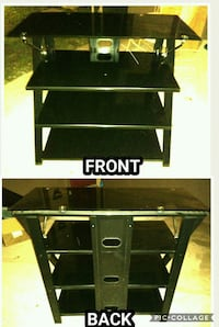 Black glass tv stand w/ shelves.  Gregory