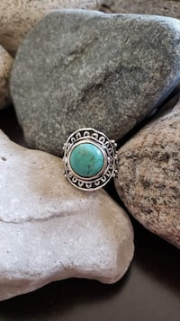 SOLID 925 STERLING SILVER NATURAL TURQUOISE RING