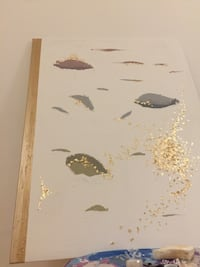 Minimalistic Hand made canvas ( with gold leafs) Malmö, 213 67