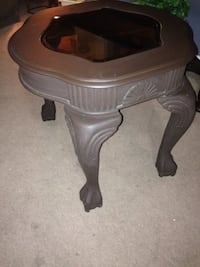 Table, very solid end table ,chocolate brown in colour .