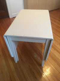 white wooden single-drawer end table