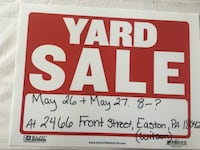 White and red garage sale signage Wilson, 18042