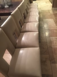 Pier 1 Imports set of 8 Faux Leather in Creamy Ivory Dining room or kitchen chairs  Prairieville, 70769