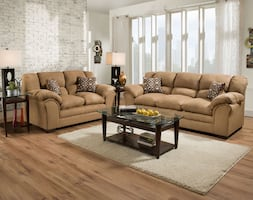 Sierra Sofa & Loveseat 2pc Collection - Camel & Chocolate Color