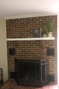Painted wood mantel