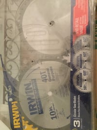 2 Irwin 10in saw blades. New. Gray and blue circular saw blades. Arlington, 22203