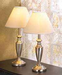 Used A Beautiful Set Of Table Lamps With Heavy Metal Frame