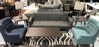 ACCENT CHAIRS BLUE AND TEAL ADJUSTABLE SOFA BED GRAY COLOR LIVING ROOM null