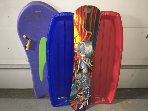 3 Sleds and a SnowBoard